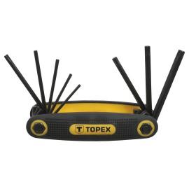 Klucze Torx z uchwytem, składany TOPEX